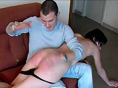 CMNF - cute French damsel unwrapped spanked en punished