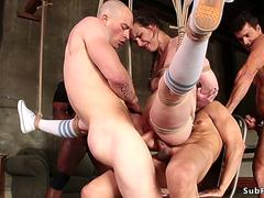 Babe throat orgy banged in suspension