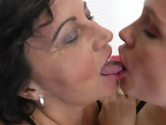 Horny housewife and hot MILF in threesome