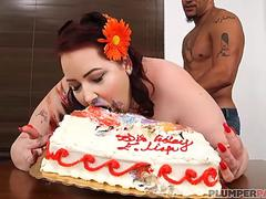 BBW Eliza Allure is Fed Cake and Fucked by King Noire