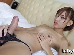 Asian tranny impaled on cock