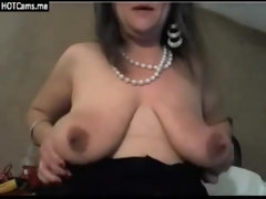 Old ugly grandma in eyeglasses with big protruding clit and saggy tits dildo toy play
