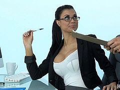 Hot sexy mummy plays the office mega-slut addicted to rod