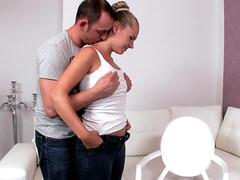 Old man scores with horny female agent Zuzana