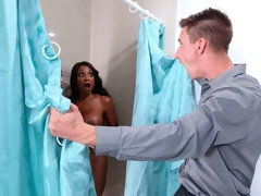 The hottest ebony MILF Diamond Jackson fucks with a young white man