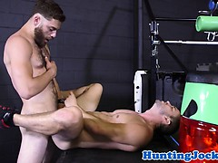 Rimming top jock pounding inked stud in tub