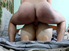 Hard fuck young gal in both fuck-holes with internal ejaculation