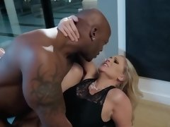 Blonde milf in high heels gets a big dick in her face