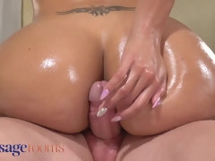 """Massage Rooms Latina MILF Canela Skin destroys cock with her big oiled ass"""
