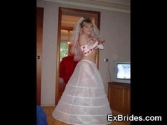 Hot truly brides showing their stockings and white bridal lingeries to their buddies just before the wedding